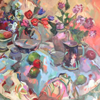 Large Still Life with Geometric Shapes – Oil Painting by Sunbury on Thames Art Society Member Hildegarde Reid
