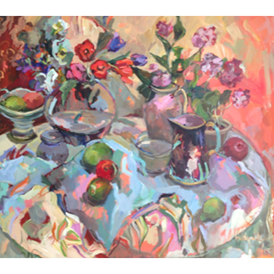 Large Still Life with Geometric Shapes - Oil Painting by Sunbury on Thames Art Society Member Hildegarde Reid