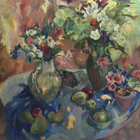Large Still Life Oil on Canvas Painting by Thames Valley Art Society Member – Molesey Surrey Artist Hildegarde Reid