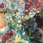 Lillies Tulips and Fruit – Still Life Painting by Thames Valley Art Society Member – Molesey Surrey Artist Hildegarde Reid