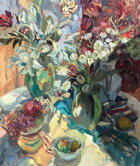 Lillies Tulips and Fruit - Still Life Painting by Thames Valley Art Society Member - Molesey Surrey Artist Hildegarde Reid