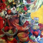 Lillies and Ceramic Chicken Still Life Painting by South African born Artist Hildegarde Reid – Molesey Elmbridge Studio