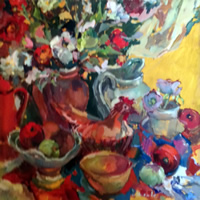 Lillies and Ceramic Chicken Still Life Painting by South African born Artist Hildegarde Reid – Molesey Elmbridge Studio