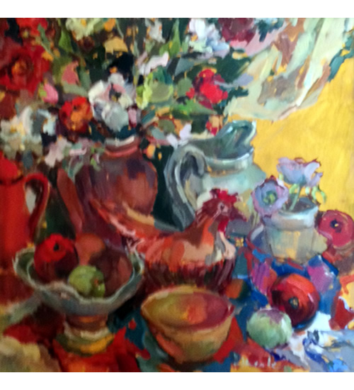 Lillies and Ceramic Chicken Still Life Painting by South African born Artist Hildegarde Reid - Molesey Elmbridge Studio
