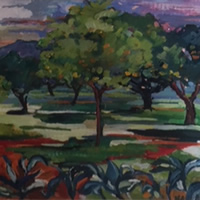 Majorcan Landscape – Painting by Thames Valley Art Society Member – Artist Hildegarde Reid
