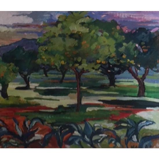 Majorcan Landscape - Painting by Thames Valley Art Society Member - Artist Hildegarde Reid