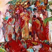 Market Scene – Oil Painting on Canvas by Chelsea Art Society Member – Molesey Surrey Artist Hildegarde Reid