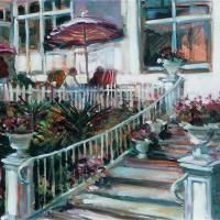 On the Terrace relaxing under sun umbrellas – Hildegarde Reid Art Tutor