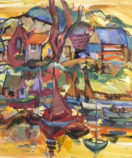 Boats in Harbour Scene - Acrylic Painting by Weybridge Art Society Member - Surrey Artist Hildegarde Reid
