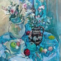 Party Flowers – Oil Painting by South African-born Artist Hildegarde Reid – Surrey Art Gallery