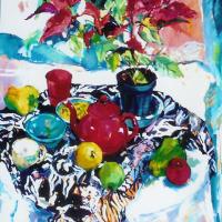 Poinsettias and Red Tea Pot Still Life by Surrey Artist Hildegarde Reid
