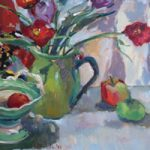 Poppies In Green Vase Still Life – Oil Painting on Canvas by Sunbury on Thames Art Society Member – Molesey Artist Hildegarde Reid