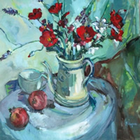 Poppies Still Life Painting by Thames Art Society Member – Molesey Elmbridge Surrey Artist Hildegarde Reid