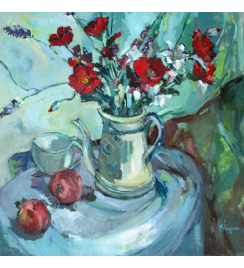 Poppies Still Life Painting by Thames Art Society Member - Molesey Elmbridge Surrey Artist Hildegarde Reid