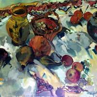 Pots and Fruit Still Life Painting by South African born Artist Hildegarde Reid – Molesey Elmbridge Studio