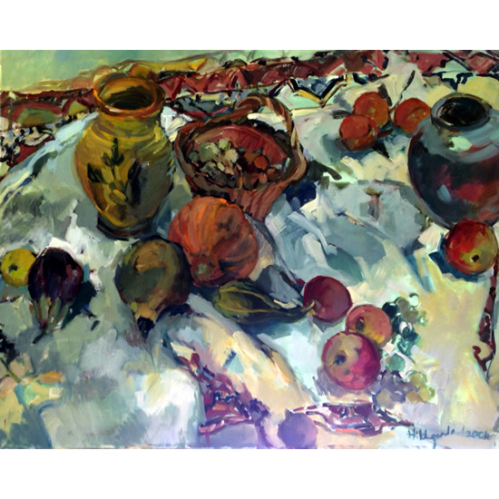 Pots and Fruit Still Life Painting by South African born Artist Hildegarde Reid - Molesey Elmbridge Studio