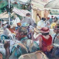 Regatta Day – Painting by Hildegarde Reid Sunbury on Thames Art Society Artist