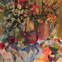 Still Life Painting with Lilies and Chinese Teapot by Molesey Art Society Surrey Artist Hildegarde Reid – Oil on Canvas