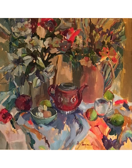 Still Life Painting with Lilies and Chinese Teapot by Molesey Art Society Surrey Artist Hildegarde Reid - Oil on Canvas