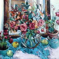 Still Life – Potted Plants & Mirror – Painting by Weybridge Art Society Member – Molesey Elmbridge Surrey Artist Hildegarde Reid