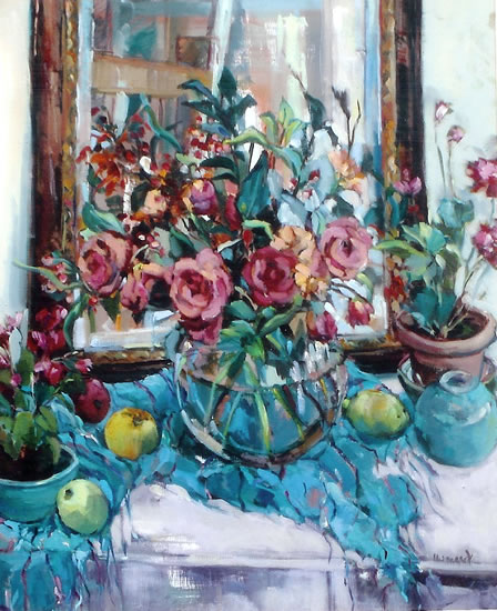 Still Life - Potted Plants & Mirror - Painting by Weybridge Art Society Member - Molesey Elmbridge Surrey Artist Hildegarde Reid