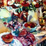 Still Life – Pottery and Plants – Hildegarde Reid Art Tutor and Surrey Artist