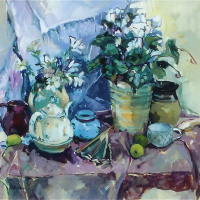 Still Life with Cyclamen – Thames Ditton Artist and Surrey Art Tutor Hildegarde Reid