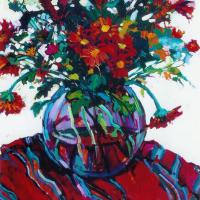 Still Life with Red Daisies – Hildegarde Reid Chelsea Art Society Artist and Art Tutor