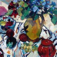 Still Life with Red Teapot – Hildegarde Reid – Surrey Art Tutor – Molesey Art Society Art Demonstration