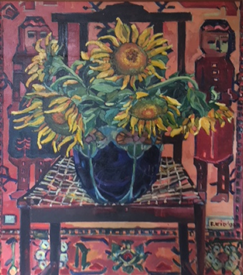 Sunflowers - Oil Painting on Canvas by Thames Valley Art Society Member - Artist Hildegarde Reid