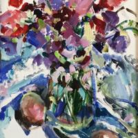 Sweetpeas Oil Painting by Molesey Art Society Artist Hildegarde Reid