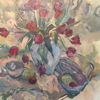 Tulips Painting by Weybridge Surrey Art Society Member – Artist Hildegarde Reid – Molesey Studio