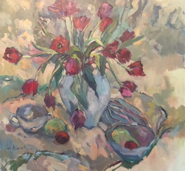 Tulips Painting by Weybridge Surrey Art Society Member - Artist Hildegarde Reid - Molesey Studio