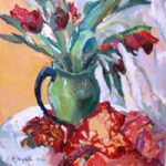 Tulips Still Life Painting by Thames Art Society Member – Molesey Elmbridge Surrey Artist Hildegarde Reid