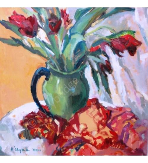 Tulips Still Life Painting by Thames Art Society Member - Molesey Elmbridge Surrey Artist Hildegarde Reid