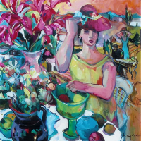 Tuscan Summer – Chic Lady  – Painting in Oil – Hildegarde Reid – Molesey Art Society Artist and Surrey Art Tutor
