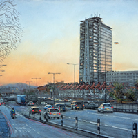 A3 and Tolworth Tower – Route Homeward Bound – Painting by Surrey Artist Malcolm Surridge