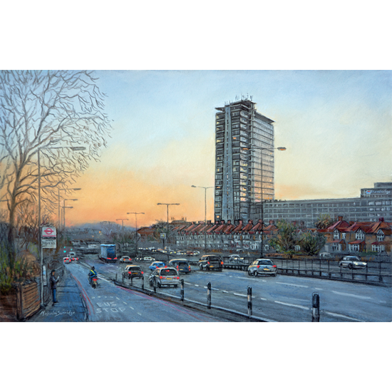 A3 Road and Tolworth Tower London Painting by Malcolm Surridge Surrey Artist