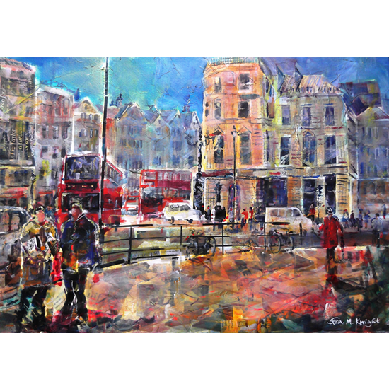 London - Friends Catching Up - Cityscape - Prints and Gifts of Painting available