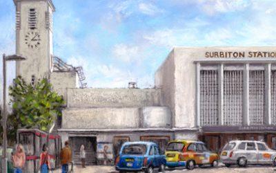 Surbiton Railway Station Painting – Surrey Art Gallery