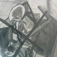 Lady In Art Studio – Drawing by Surrey Artist Karen Marie Budge