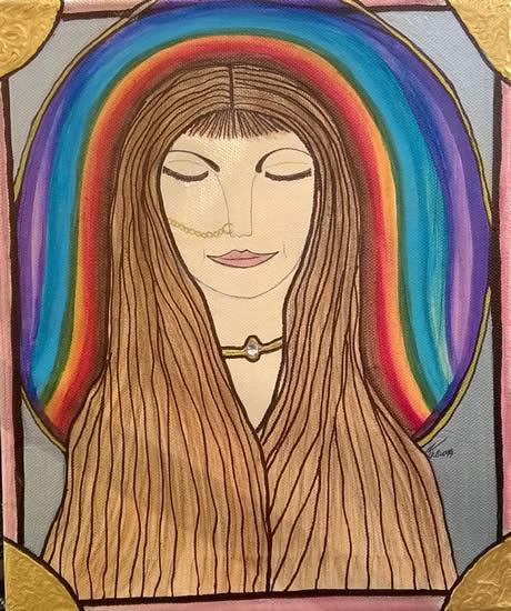 Angel Art Prints: Rainbow Chakra Painting by Karen Marie Budge Artist
