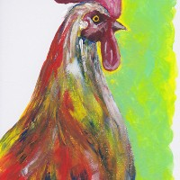 Cockerel – Chicken – Rachael Tan – Surrey Artist – Painting in Acrylics on Canvas and Drawings in Charcoal and Pencil