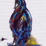 Crow – Rachael Tan – Surrey Artist – Painting in Acrylics on Canvas and Drawings in Charcoal and Pencil