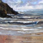 Evening Surf, Polkerris – Surrey Artist Melanie Cambridge