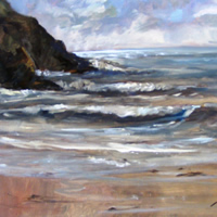 Evening Surf, Polkerris – Surrey Artist Melanie Cambridge