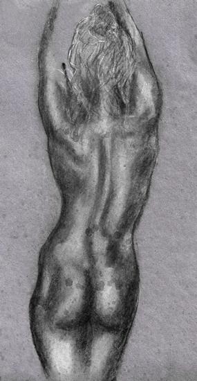 Female Nude on Grey - Rachael Tan Artist