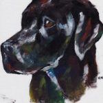 Labrador – Rachael Tan – Surrey Artist – Painting in Acrylics on Canvas and Drawings in Charcoal and Pencil