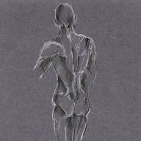 Male Nude on Grey – Rachael Tan Art