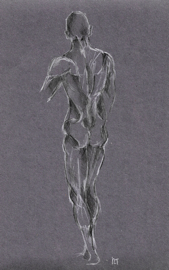 Male Nude on Grey - Rachael Tan Art